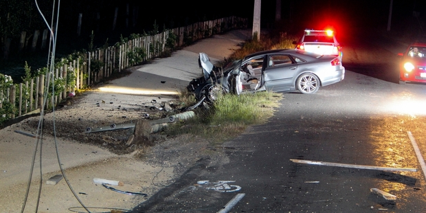 PURSUIT: A police chase involving an Audi A8 ended in a crash near Havelock North last night. PHOTO/GLENN TAYLOR HBT134387-04