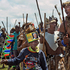 A group of Zulu warriors from KwaZulu Natal gather near a public viewing tent during the funeral service of former South African president Nelson Mandela in Qunu, South Africa. Photo / AP