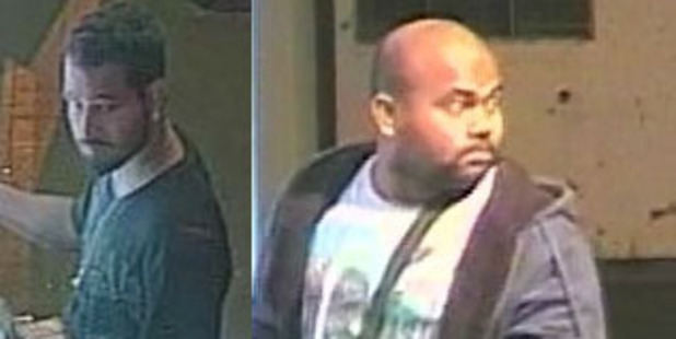 These two men are believed to be withdrawing cash from Auckland ATMs with counterfeit cards.