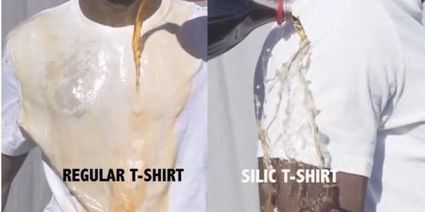 A regular t-shirt feels the same as the new silic invention which can repel all sorts of stains. Photo / Kickstarter