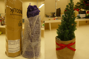 The Christmas tree as it was packed (left) and unpacked (right).