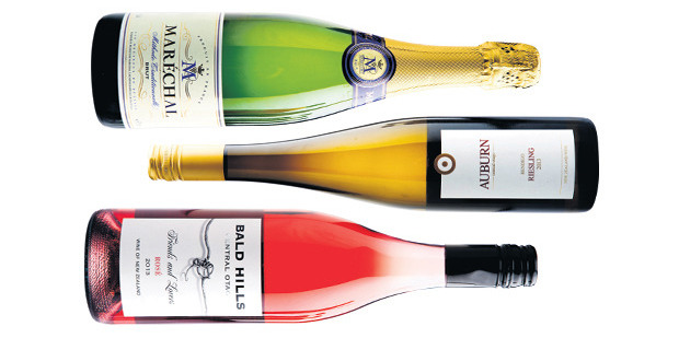 Marechal Methode Traditionnelle Brut NV; Auburn Bendigo Central Otago Riesling; Bald Hills Friends and Lovers Central Otago Rose. Photos / Babiche Martens
