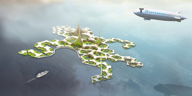 "Designers envisage a series of interlocking ""hollow box'' square and pentagonal platforms, allowing each seasteading city to grow organically."