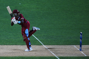 Darren Sammy flicks the ball away for four runs during the first ODI match between New Zealand and the West Indies at Eden Park. Photo / Getty Images