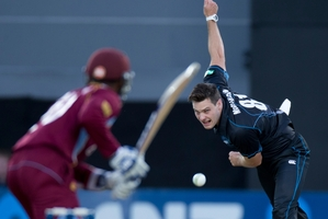 Mitchell McClenaghan captured five wickets at Eden Park yesterday. Photo / Greg Bowker
