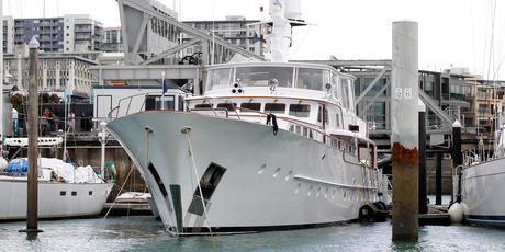 The yacht Alchemy moored in Aucklands Viaduct Harbour. Photo / Chris Gorman