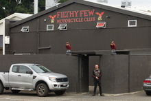 Police raided the headquarters of the Filthy Few Motorcycle Club in Tauranga following a home invasion. Photo / Alan Gibson