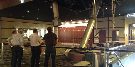 The area inside Event cinemas in Newmarket where the air conditioning unit collapsed into the lobby ticketing area.