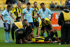Paul Ifill was in agony with a ruptured Achilles tendon before he was carried off the field. Photo / Getty Images