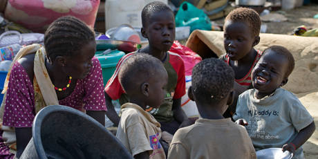 Displaced children sit together after seeking refuge at the compound of the United Nations Mission in South Sudan in Juba, South Sudan. Photo / AP