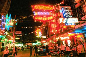 A night scene of the red light district in south Pattaya in Chonburi province. Photo / AP