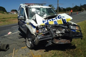 This police truck was involved in a collision with a sewage pump truck in the Far North. PHOTO / JESS BECKETT