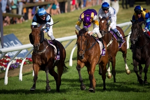 Historian (purple and yellow) wins the Zabeel Classic from O'Fille (not in picture) and Soriano (left). Photo / Sarah Ivey