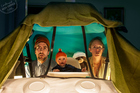 Leon, Lilley and baby Orson recreate a scene from the Life Aquatic. Photo / www.cardboardboxoffice.com