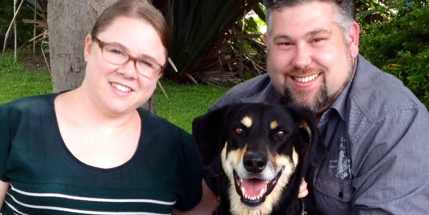 Kathy and Andrew McLaren with their dog Crusoe.