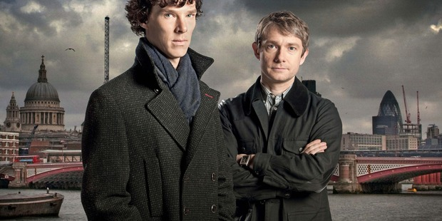 Benedict Cumberbatch as Sherlock Holmes and Martin Freeman as Dr Watson.