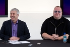 Orcon CEO Greg McAlister (left) engaged the services of Kim Dotcom in boosting broadband to New Zealanders. Photo / Richard Robinson