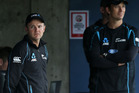 Black Caps coach Mike Hesson and bowling coach Shane Bond look on during the rained out second ODI. Photo /Getty