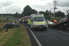 Emergency services attending Morrinsville-Tahuna Rd crash. Photo / supplied
