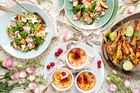 Roquefort, nectarine duck salad, Raspberry creme brulee, Prawn skewers. Photo / Babiche Martens