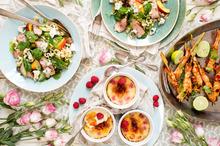 Roquefort, nectarine duck salad, Raspberry creme brulee, Prawn skewers. Photo / Babiche Martens