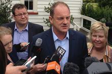 David Shearer speaks to media at today's caucus meeting in Henderson. Photo / Brett Phibbs