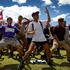 Boys perform a haka on the Treaty Grounds during Waitangi celebrations today. Members of the public flocked to Paihia and Waitangi to join in the celebrations. Photo / Sarah Ivey