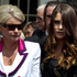 Lady Holmes and Millie Elder-Holmes after the funeral of Sir Paul Holmes, at the Holy Trinity Cathedral. Photo / Brett Phibbs