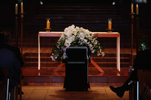 The coffin of Sir Paul Holmes is seen at Auckland Cathedral of the Holy Trinity in Parnell. Photo / Getty Images