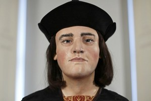 A plastic facial model made from the recently discovered skull of England's King Richard III. Photo / AFP