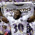 Baltimore Ravens running back Bernard Pierce celebrates after their 34-31 win against the San Francisco 49ers in the NFL Super Bowl XLVII football game in New Orleans. Photo / AP