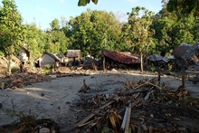 Houses are damaged in the area of Lata, in the Solomon Islands after a powerful earthquake generated a tsunami, killing five people. Photo / Work Vision/AP