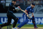 Jonathan Bairstow of England bats watched by New Zealand wicketkeeper Brendon McCullum. Photo / Getty Images.