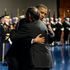President Barack Obama hugs outgoing Defense Secretary Leon Panetta during a Farewell Tribute for Panetta. Photo / AP
