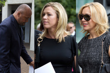 All Black great Jonah Lomu, TVNZ's Wendy Petrie and Alison Mau arrive for the funeral. Photo / Brett Phibbs
