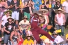 West Indian Kieron Pollard showed that big men can soar, with this spectacular one handed catch against Australia yesterday. Photo / Youtube.