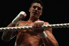 Sonny Bill Williams looked sharp and focused at the weigh-in ahead of tomorrow night's fight against Francois Botha at the Brisbane Entertainment Centre. Photo / Getty Images.