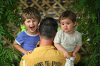 'Canvas' writer Alan Perrott with his two children Theo (3) and Aubrey 14 months. Photo / Chris Gorman
