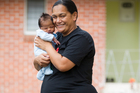 Courtney Tauranga gained 46kg while she was pregnant with her fifth child, son Michael Punga, who is now three weeks old.  Photo / Greg Bowker