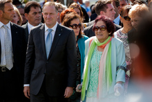 Prime Minister John Key was eventually welcomed on to Te Tii Marae at Waitangi yesterday, accompanied by Titewhai Harawira. Photo / Sarah Ivey 