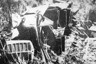 Wreckage after the crash and mourners at the funeral of some of the victims. Photo / APN