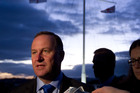 Prime Minister John Key speaking to the media on the Treaty Grounds at Waitangi. Photo / Sarah Ivey