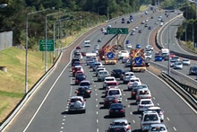 Traffic was brought to a standstill on the Northern Motorway near Takapuna. Photo / Richard Robinson