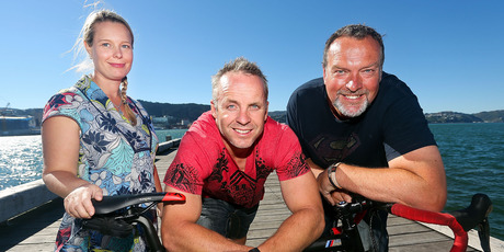  Jane Weekes, Christian Cullen, centre, and Martin Weekes. Photo / Hagen Hopkins
