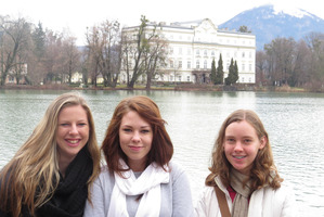 Massey High School's Kaitlin Purchase, Lauren Eagle and Catherine Webb in Austria. Photo / Supplied