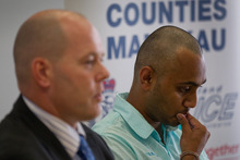 Shalvin Prasad's brother Pravin and Detective Inspector Dave Lynch urge anyone with information to come forward. Photo / Sarah Ivey