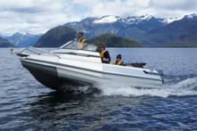 The new Stabicraft 1650 Fisher features a game Chaser Transom, Arrow Pontoons and fold-up transom seats. Photo / Supplied