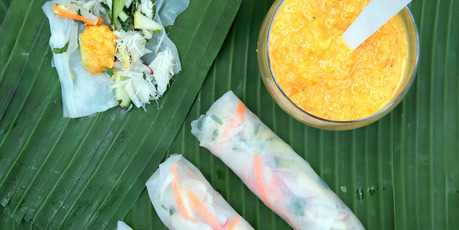 Crab rice paper rolls with a mandarin and lemon grass dressing. Photo / Doug Sherring