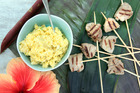 Coconut and banana pork with fresh coconut sambal. Photo / Doug Sherring