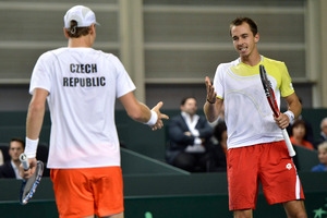 Tomas Berdych and Lukas Rosol took more than seven hours to beat their Swiss opponents. Photo / AP
